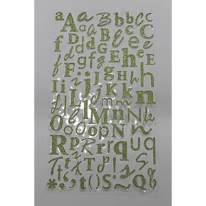 Glitter Alphabet Stickers - Spring Green