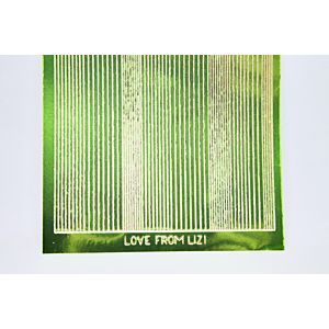 Pin Stripe Peel-Off Stickers - Grass Green/Gold Finish