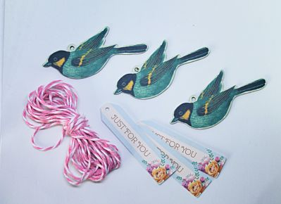 Bird And Sentiment Die cut Tags And Twine