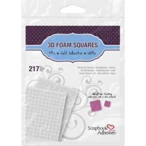 Scrapbook Adhesives 3D Foam Squares Variety Pack 217/Pkg - WHITE