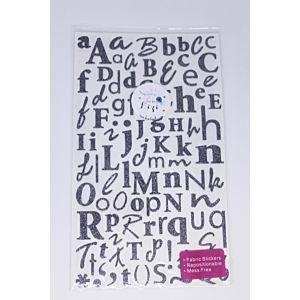 Glitter Alphabet Stickers - Grey
