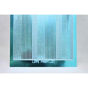 Pin Stripe Peel-Off Stickers - Denim Blue Mirror