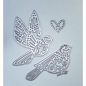 Detailed Birds and Heart Cutting Dies - December 19 Add On