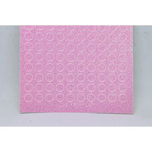 Mini Circle Peel-Off Stickers - Clear Iridescent Pink Glitter