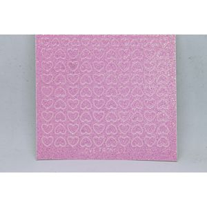 Mini Heart Peel-Off Stickers - Clear Iridescent Pink Glitter