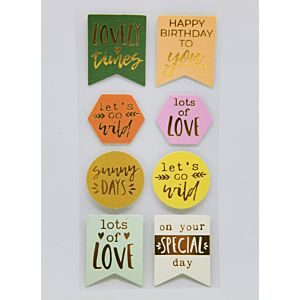 Tropical Escape - Gold Foiled Sentiment Toppers